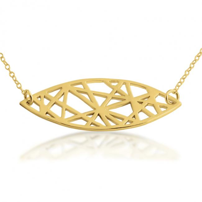 Gold plated necklace Abstract Mandorla Sideways