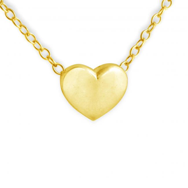 Gold plated necklace Solid Heart (Chain in Back)