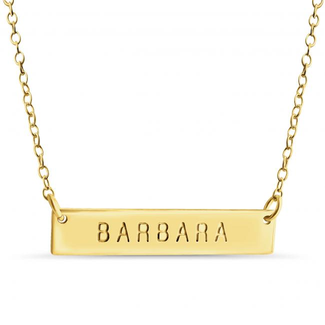 Gold plated necklace Name Bar Barbara