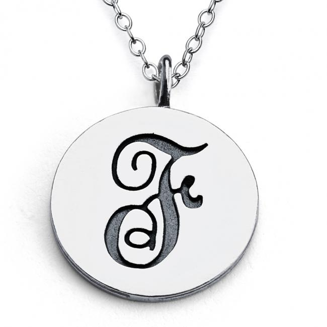 925 sterling silver necklace F Script Letters
