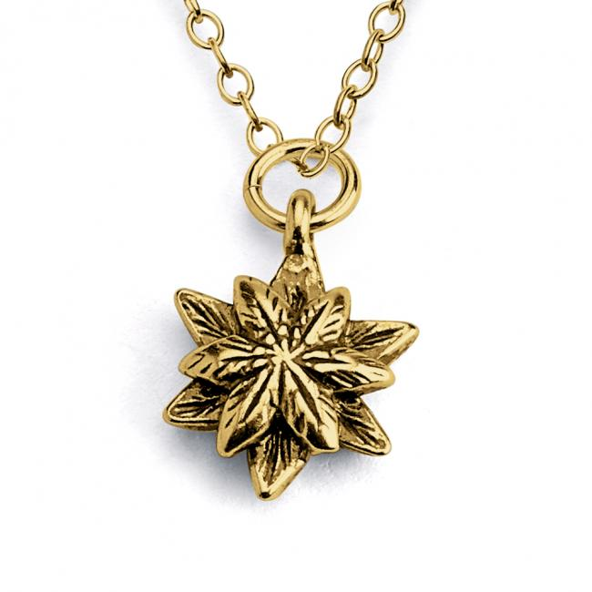Gold plated necklace Star Flower Double Sided