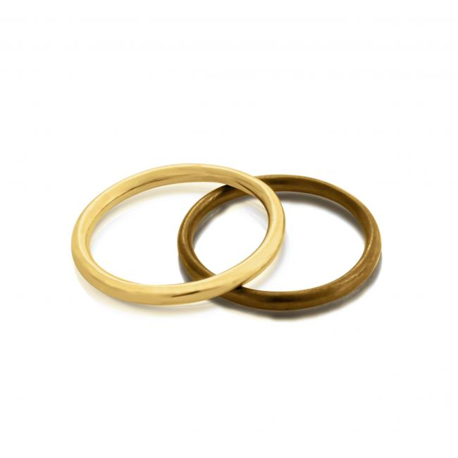 Gold plated ring Oxidized Stackable Ring