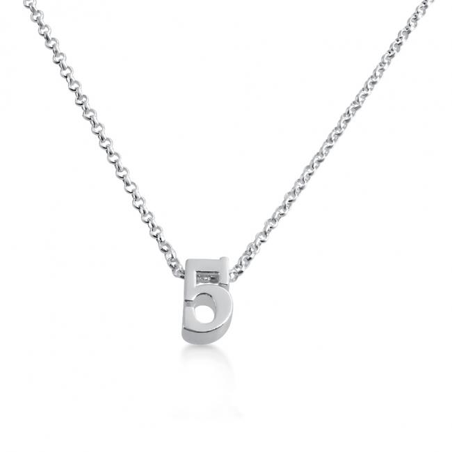 925 sterling silver necklace Initial Letter 5 Personalized Symbols & Letters Serif Font