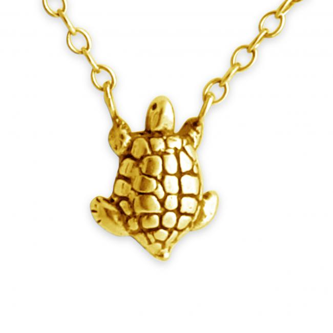 Gold plated necklace Turtle Jump Ring Necklace