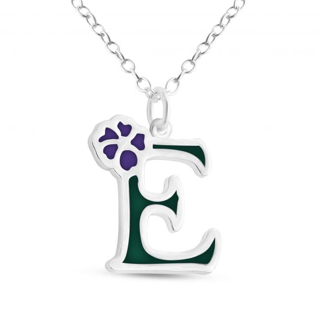 925 sterling silver necklace Colored Initial Letter E with Flower