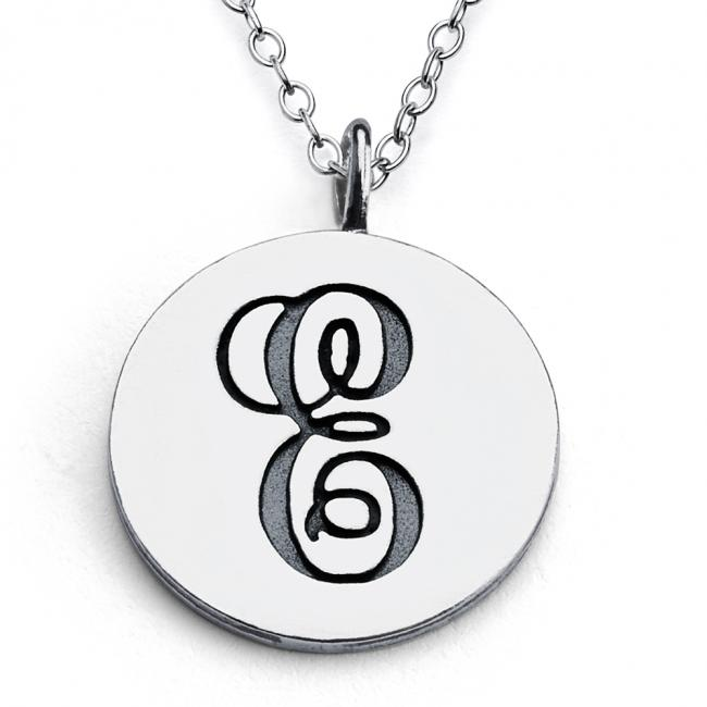 925 sterling silver necklace E Script Letters