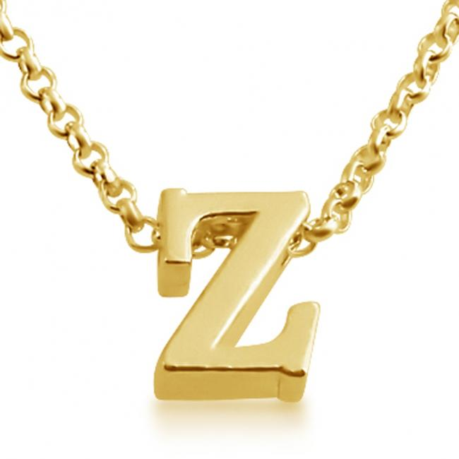 Gold plated necklace Initial Letter Z Personalized Symbols & Letters Serif Font