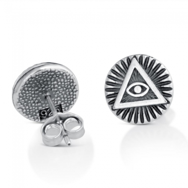 925 sterling silver earrings Illuminati Circle