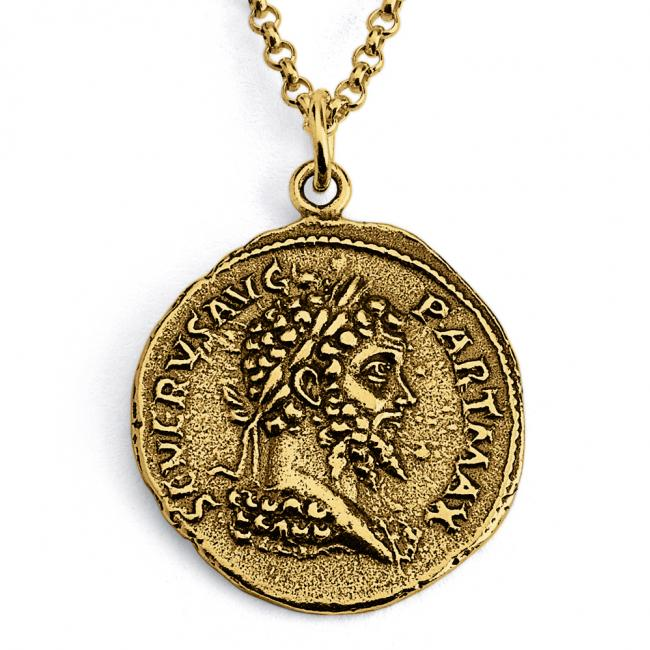 Gold plated necklace Replica Septimius Severus Roman Emperor Ancient COIN