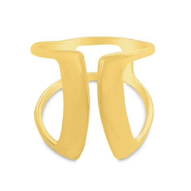 Gold plated ring Two Thick Parallel Bars Open Ring