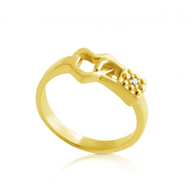 Gold plated ring 2mm (0.03 ct. tw) Diamond Heart Love-Lock-Down