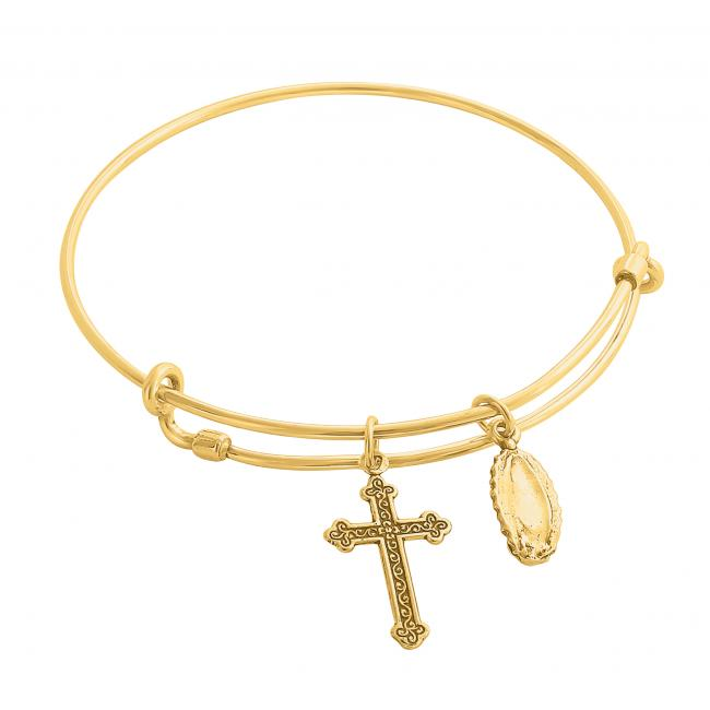 Gold plated bracelet Our Lady of Guadalupe Adjustable Wire Bangle