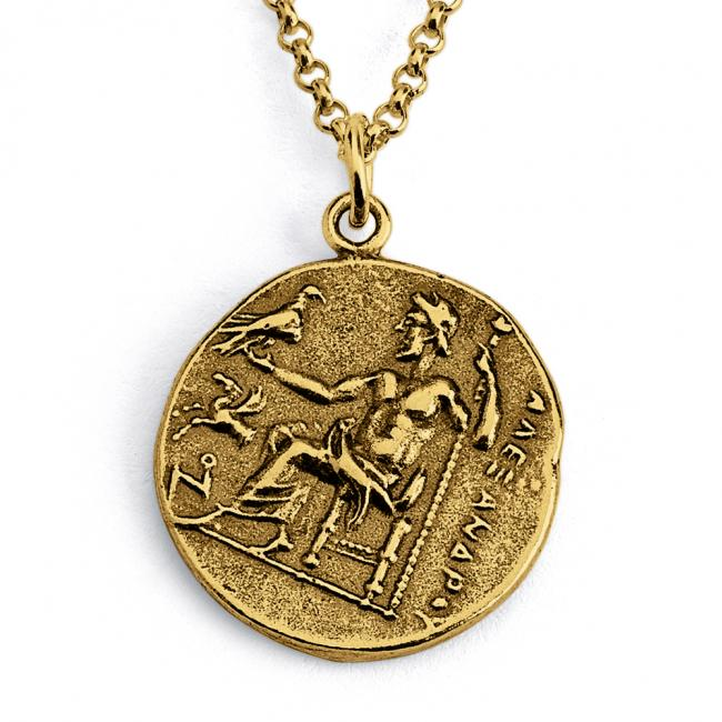 Gold plated necklace Replica Alexander III of Macedon Anceint COIN