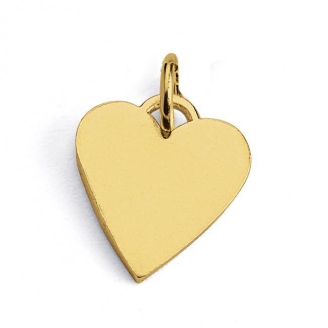 Gold plated necklace Solid Flat Plain Heart Love