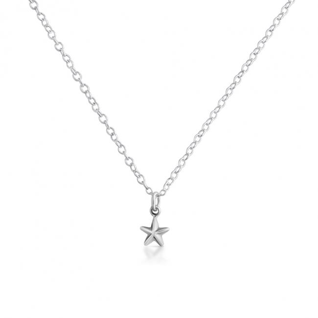 925 sterling silver necklace Tiny 5 Pointed 3D Star