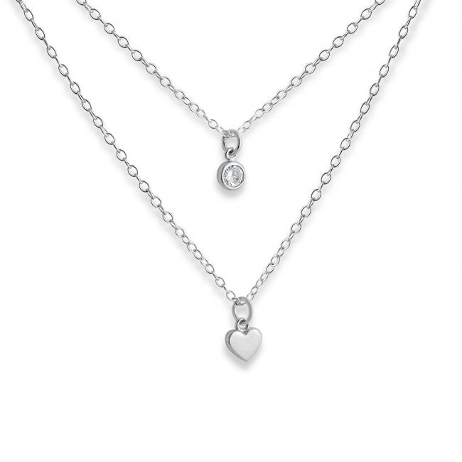 925 sterling silver necklace Heart and CZ w/ Double Chain