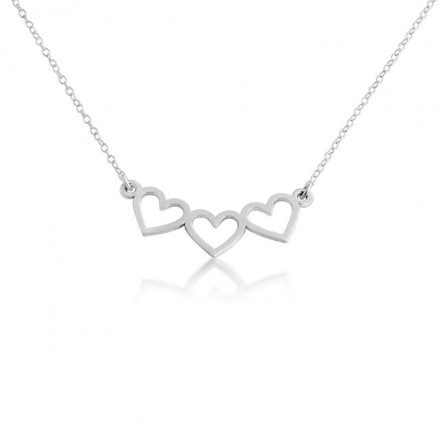 925 sterling silver necklace 3 Open Hearts
