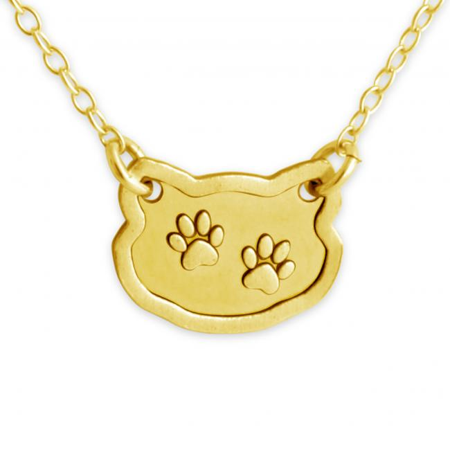 Gold plated necklace Dog/ Cat Paw Prints