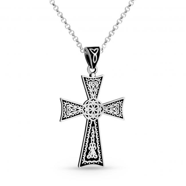 925 sterling silver necklace Black Celtic Cross