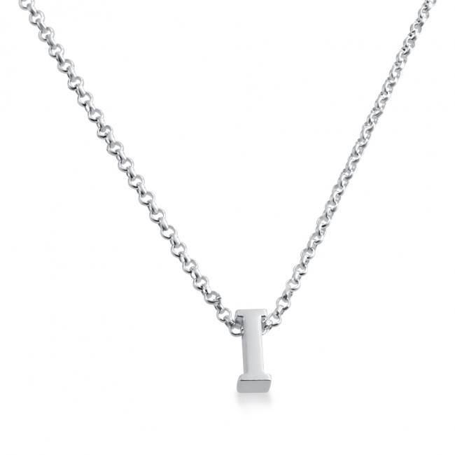 925 sterling silver necklace Initial Letter I Personalized Symbols & Letters Serif Font