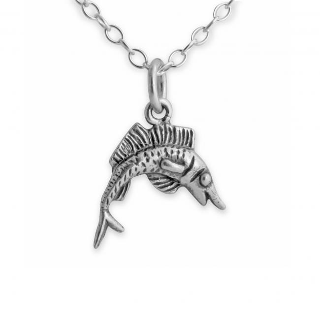 925 sterling silver necklace Tiny Leaping Marlin Fish Cute Fishing Water Sport