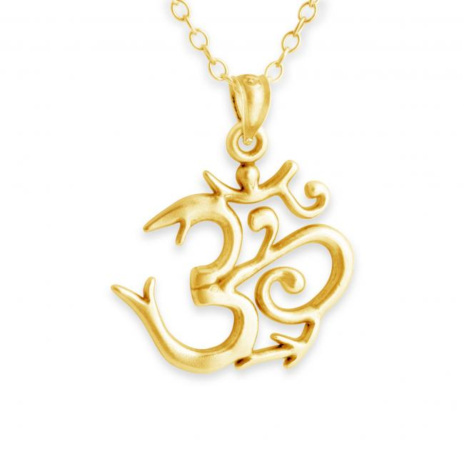 Gold plated necklace Sanskrit Om