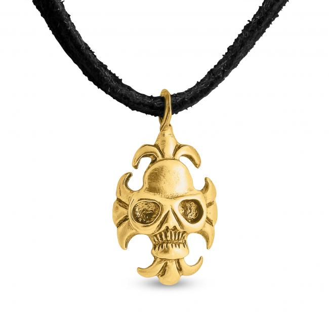 Gold plated necklace Skull with Motor Glasses