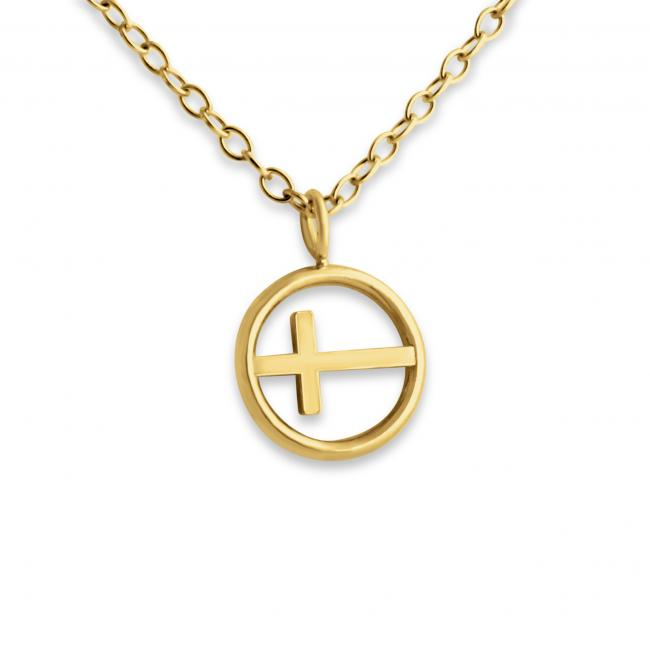 Gold plated necklace Tiny Cross in Circle