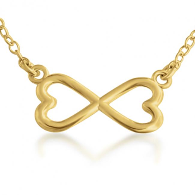 Gold plated necklace Double Heart