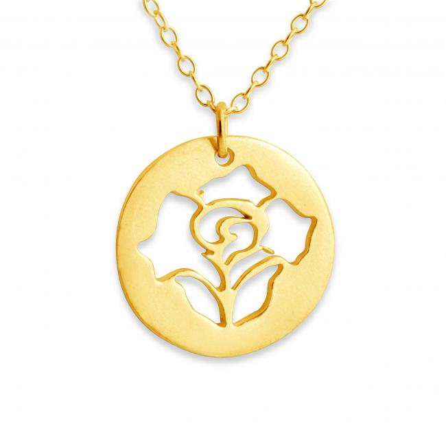 Gold plated necklace Rose Stencil
