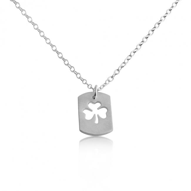 925 sterling silver necklace 3-Leaf Clover Dog Tag Pendant