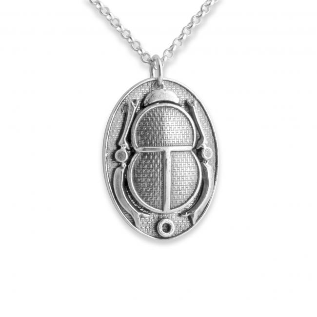 925 sterling silver necklace Ancient Egyptian Hieroglyph Cartouche Scarab Beetle