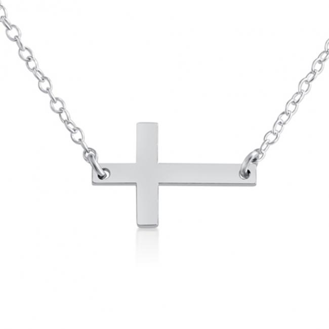 925 sterling silver necklace Simple Sideways Cross Religious