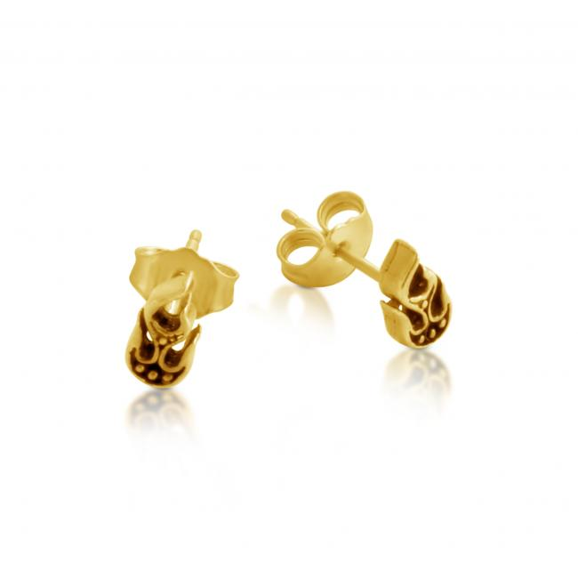 Gold plated earrings Stylized Flames