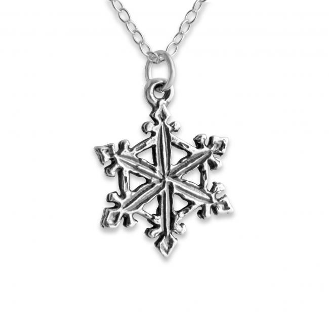 925 sterling silver necklace Snowflake Winter Double Sided