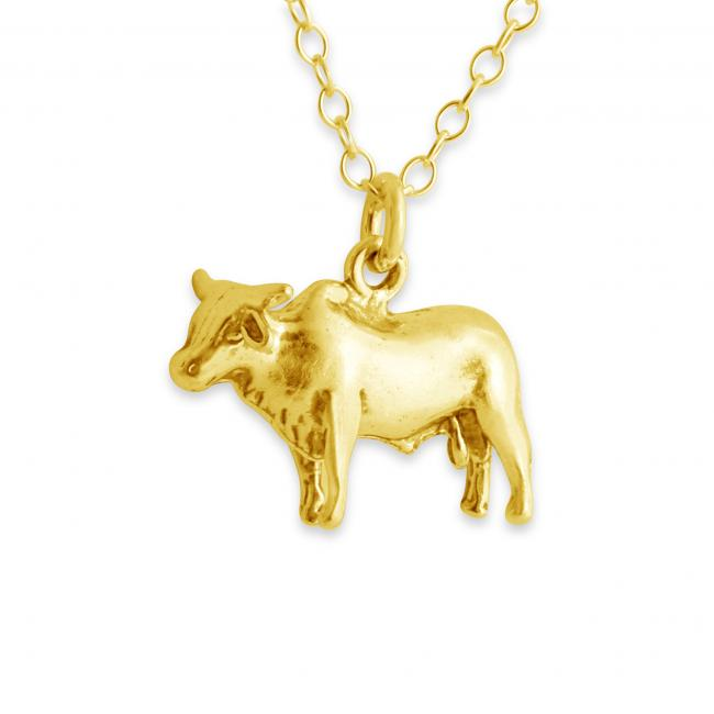 Gold plated necklace Solid 3D Bull Ox Taurus Zodiac Sign Corrida Country