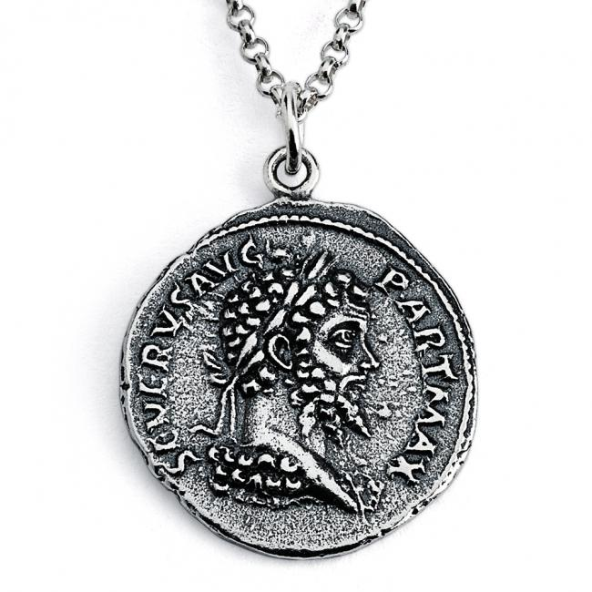925 sterling silver necklace Replica Septimius Severus Roman Emperor Ancient COIN