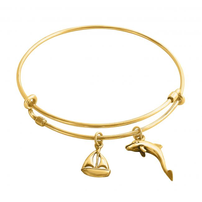 Gold plated bracelet Sailing Romance Adjustable Wire Bangle