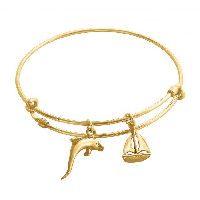 Gold plated bracelet Sailing Romance Adjustable Wire Bangle