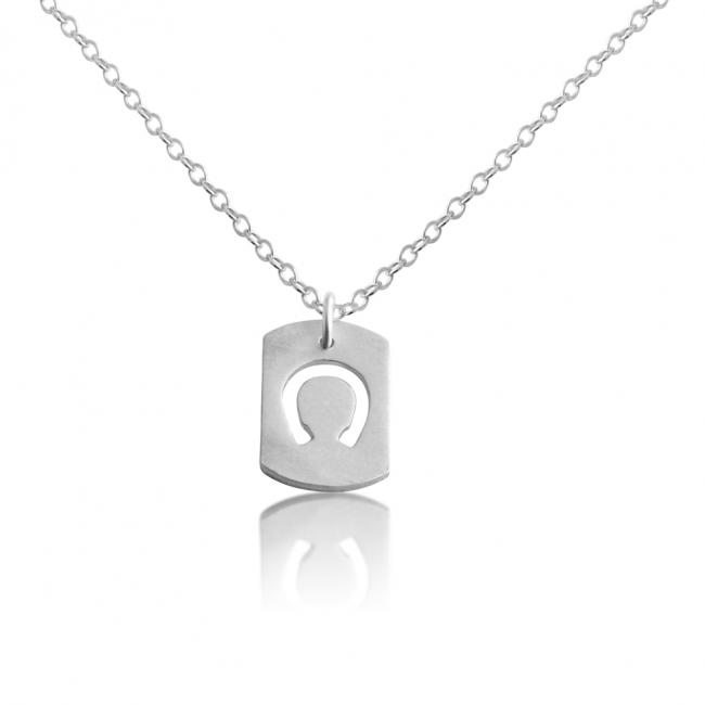 925 sterling silver necklace Horseshoe Dog Tag