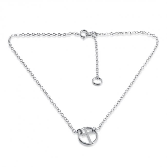 925 sterling silver anklet Circle of Life Sideways Cross Charm