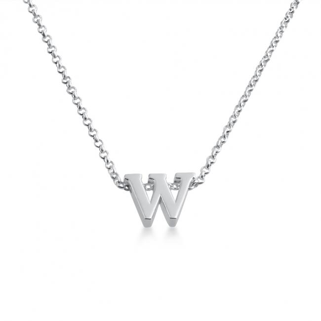 925 sterling silver necklace Initial Letter W Personalized Symbols & Letters Serif Font