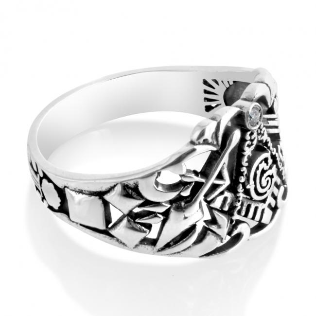 925 sterling silver ring Freemason Ring w/ Diamond