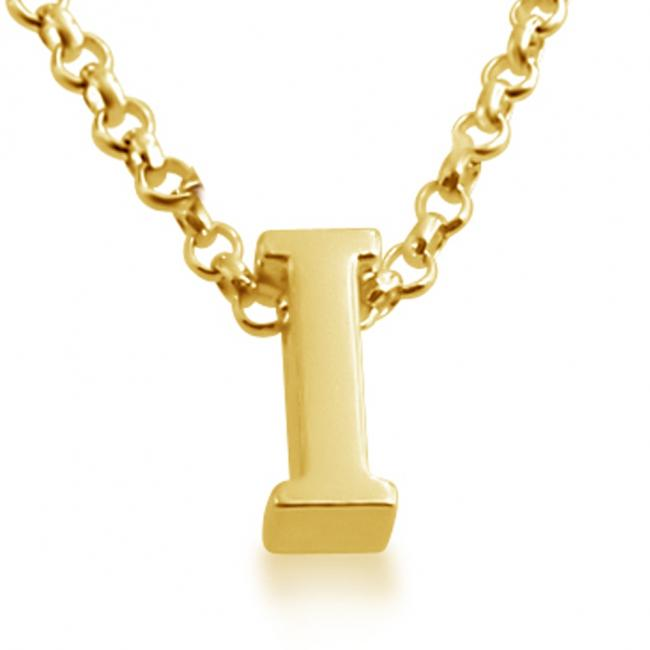Gold plated necklace Initial Letter I Personalized Symbols & Letters Serif Font