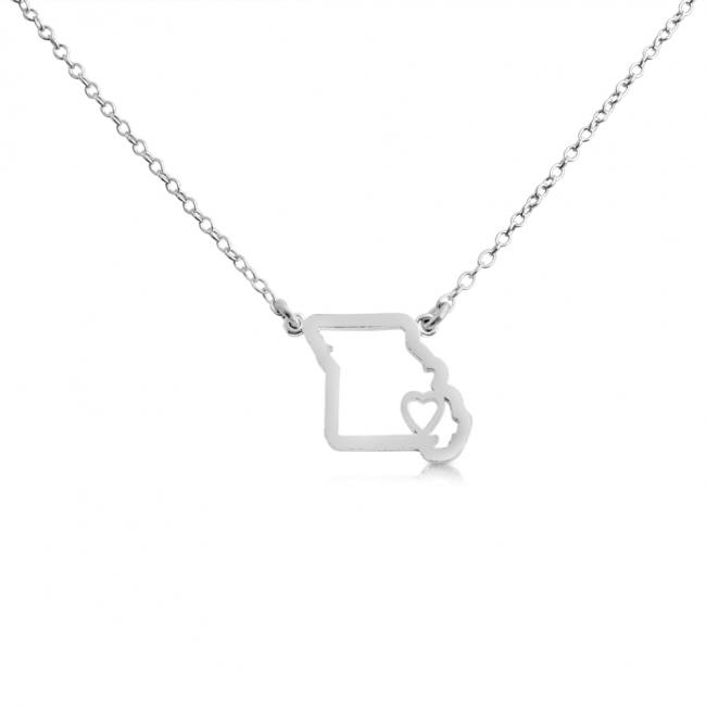925 sterling silver necklace Missouri Home is Where The Heart Is State Necklace