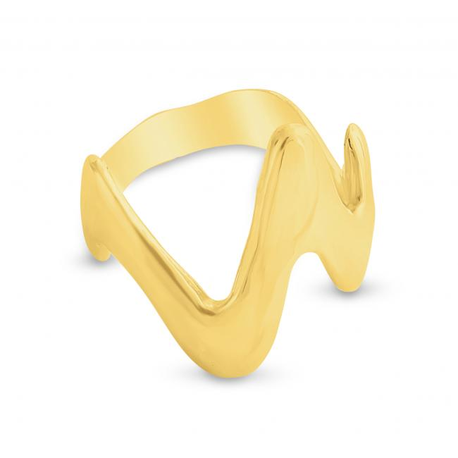 Gold plated ring Heartbeat Ring