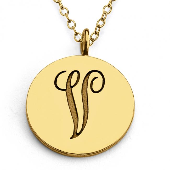 Gold plated necklace V Script Letters