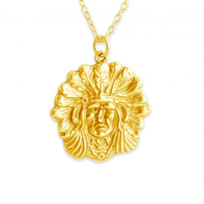 Gold plated necklace Native American Chief