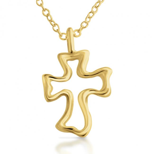 Gold plated necklace Open Cross