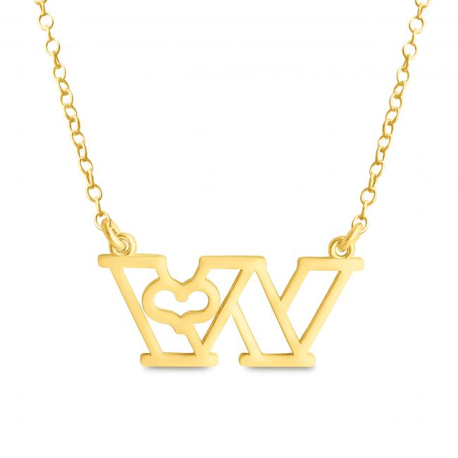 Gold plated necklace Initial Letter W with Heart Sideways